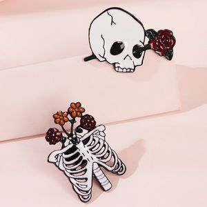 Set of 2 Pins Skull Rose Ribcage Flowers NWT